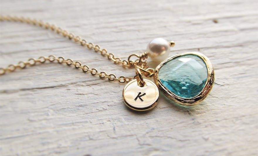 Aquamarine Charm Necklace by IrinSkye on Etsy | Confetti.co.uk