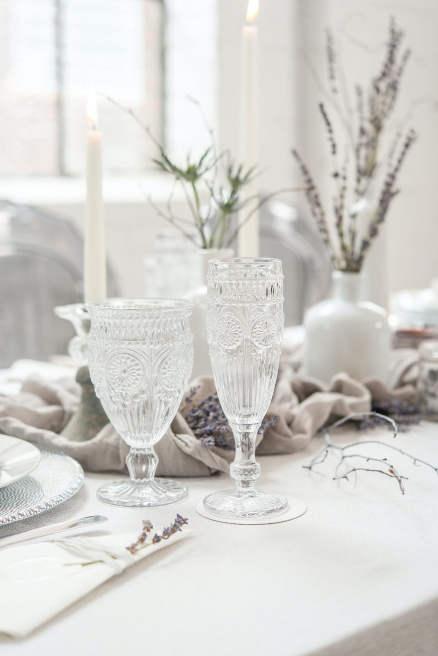 Clear Vintage Style Pressed Glass Goblet - Crystal Glasses | Confetti.co.uk