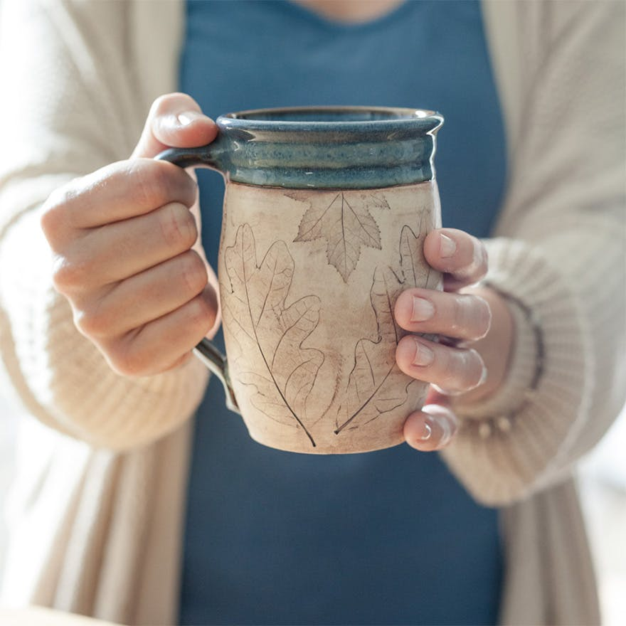 Coffee Lover Pottery Mug - Handmade Mug - Autumn Maple Leaf Gift for Him or Gift For Her by juliaedean on Etsy | Confetti.co.uk