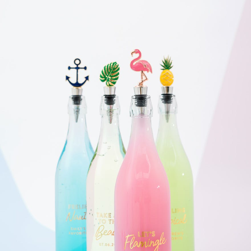 Colourful (Blue White Pink Green) Summer Drinks Glass Bottles with Bottle Stoppers - Anchor - Tropical Monstera Leaf - Flamingo - Pineapple | Confetti.co.uk