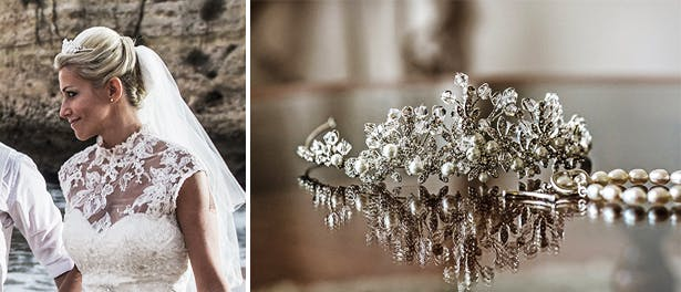 Laura and Mark Algarve Real Wedding Tiara