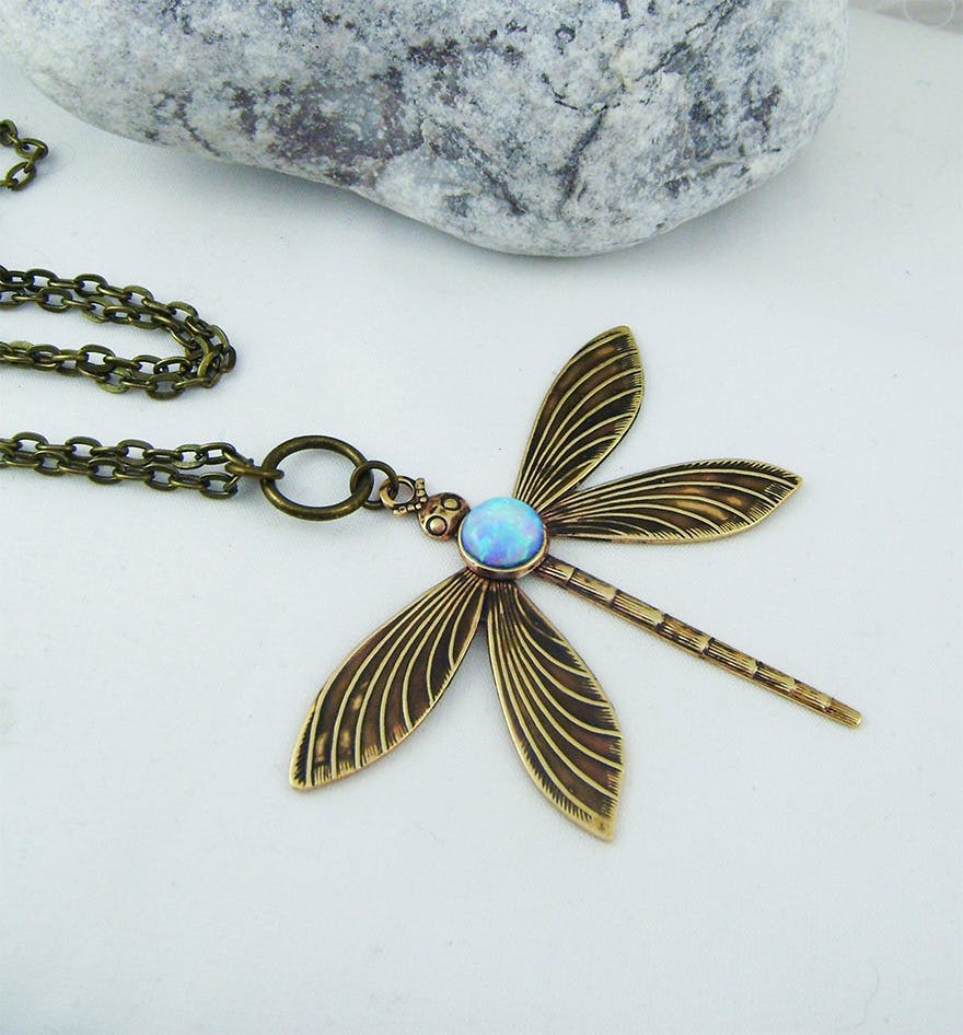 Opal Dragonfly Pendant Necklace by Silverbird1Jewelry on Etsy | Confetti.co.uk