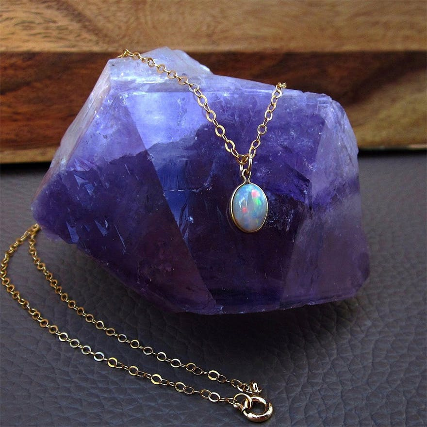 Opal Pendant Gift - Opal Necklace - by Bihls on Etsy | Confetti.co.uk