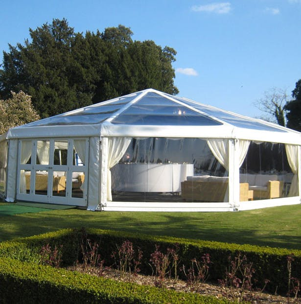 A wedding marquee can be placed in the garden of a stately home for a perfect shabby chic reception. | Confetti.co.uk