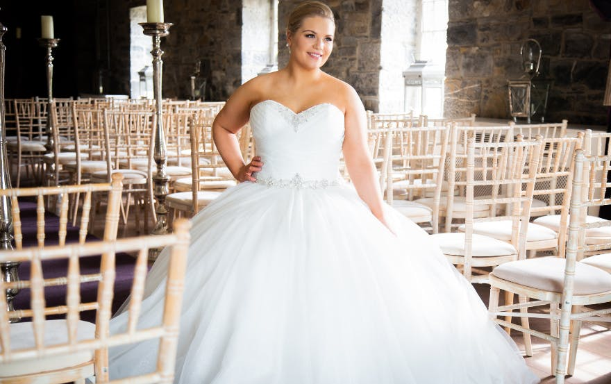 Strapless ball gown wedding dress for curvy bride