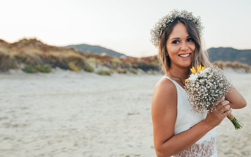 Bride with hair and makeup done