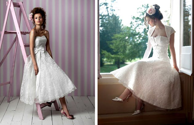 50s Lace Tea Length Wedding Dresses