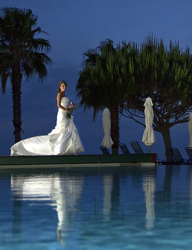 Algarve Photography night bride by the pool