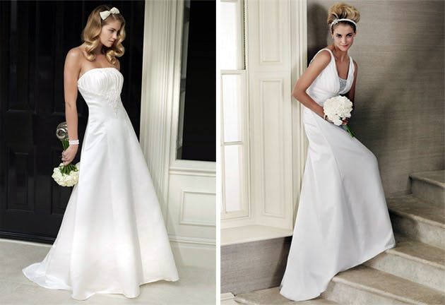 Images Courtesy Of Left Josephine Beaded Strapless Satin Bridal Dress 295 Right Camille V Neck Gown Both By Bhs