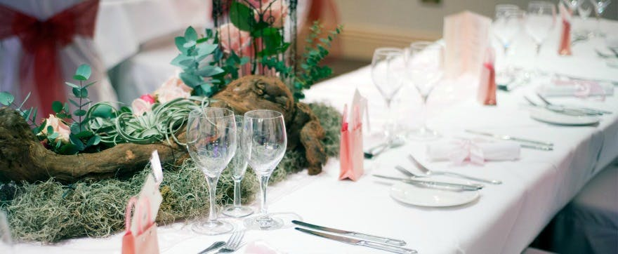 Woodland wedding breakfast at Careys Manor | Confetti.co.uk
