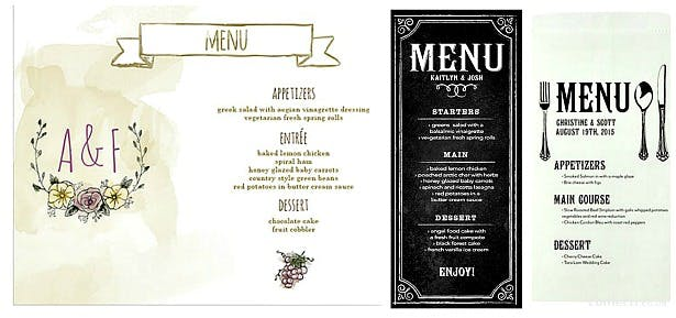Menus from a range of wedding stationery | Confetti.co.uk