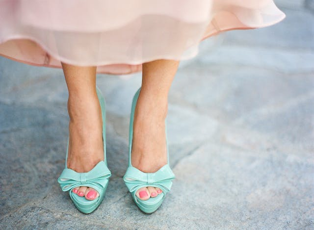 Pink and Turquoise dress and shoes