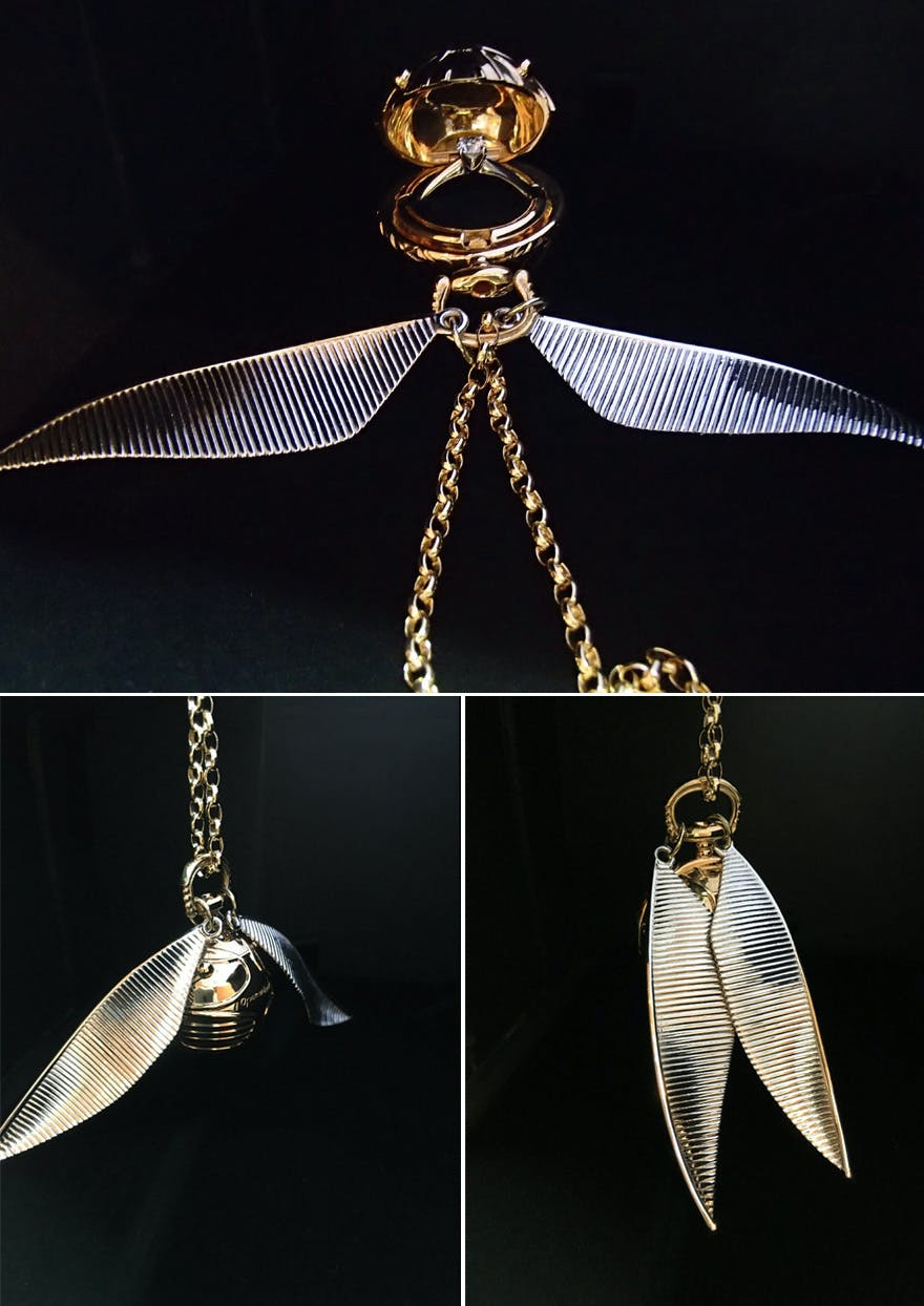 Golden Snitch Necklace - Harry Potter Golden Snitch Locket - I Open at the Close - Freeman Design 3D Printed Golden Snitch Ring Box and Necklace - Golden Snitch Jewellery - Harry Potter Golden Snitch Necklace with Wings - Golden Snitch with Wings Harry Potter Necklace | Confetti.co.uk