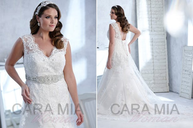 Eternity Bridal | Cara Mia Woman collection | Wedding Dress For Plus Size Brides | White lace Wedding Dress with Detailed Belt | Confetti.co.uk