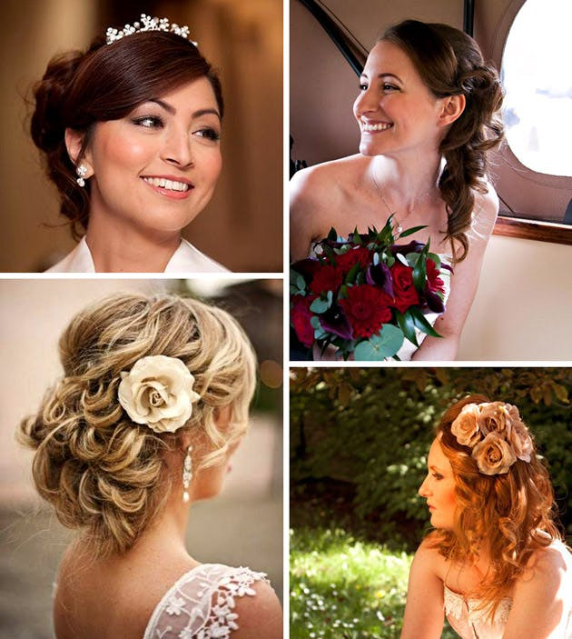 Beautiful Bridal hairstyles with hairpieces and jewelled accessories