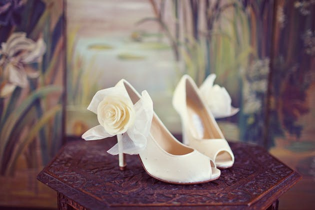 Peep-toe bridal shoes with rose detail from Jemma & Harry's Real Wedding