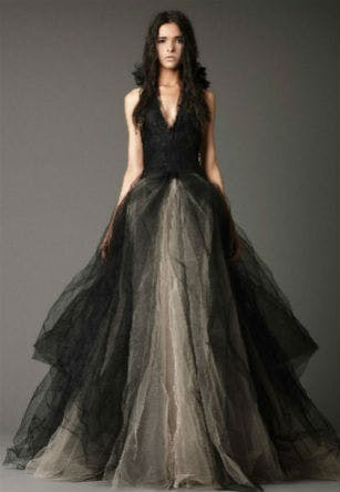 Vera Wang black Gothic style wedding dress