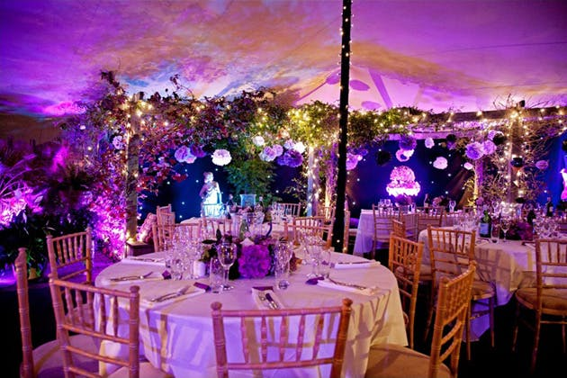 Foliage and flowers marquee decor by Complete Chillout Company | Confetti.co.uk