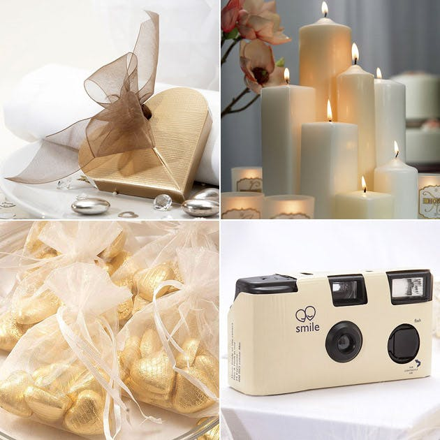 Ivory Favour Boxes Organza Bags Candles Disposable Cameras