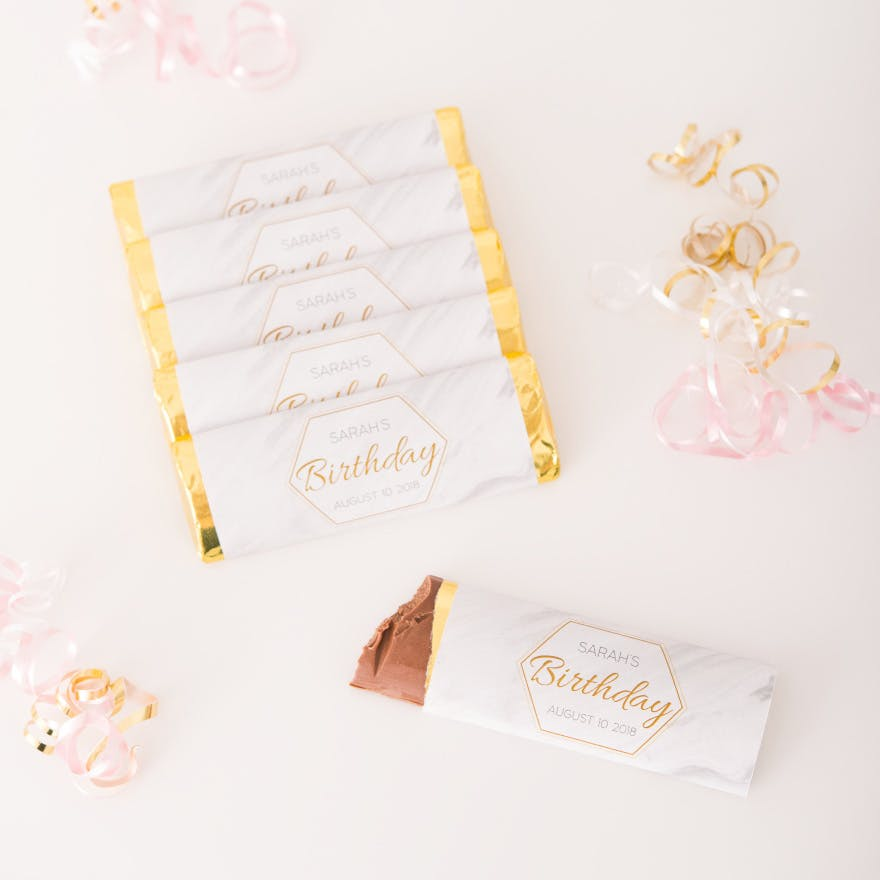 Chocolate Bar Wedding Favour Idea - Purple and Gold Wedding Theme - Personalised Chocolate Bar Wedding Favours - Geo Marble Wedding Theme | Confetti.co.uk