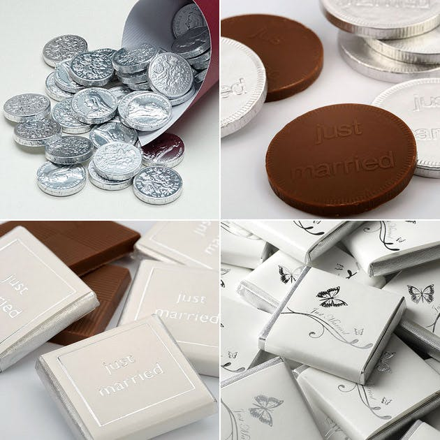 Chocolate Favour Coins Buttons and Butterfly Squares