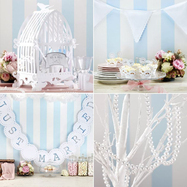 White Lace Birdcage Post Card Box Vintage Bunting Pearl Garland Just Married Sign