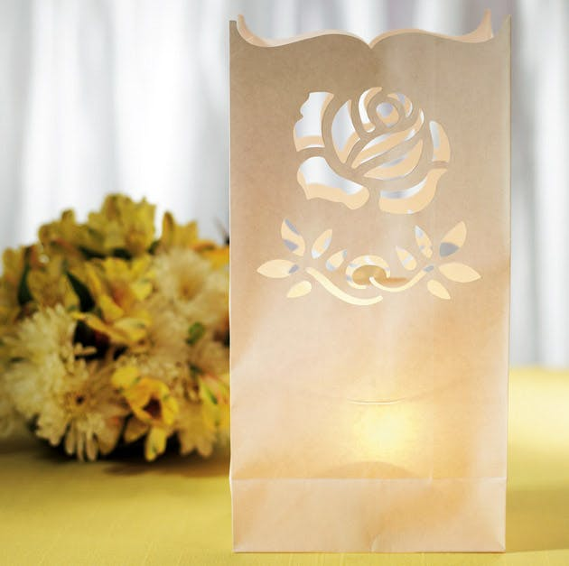 Paper Lantern With Cut Out Vintage Rose Pattern