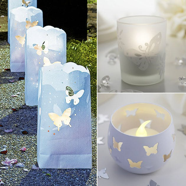 Paper Lanterns candle Holders #butterfly wedding theme