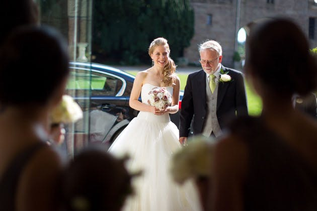 Bride And Father of the Bride Arriving at Wedding Ceremony