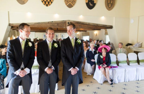 Groom And Groomsmen Waiting at Top of Aisle