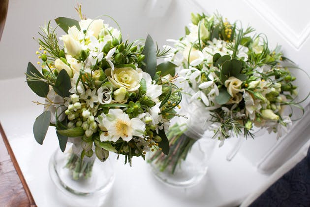 Bridal and Bridesmaid Ivory and Green Bouquets