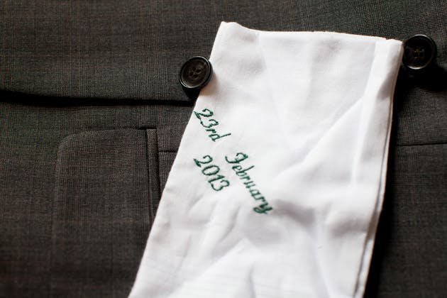 Groom's Embroidered Hankerchief with Wedding Date