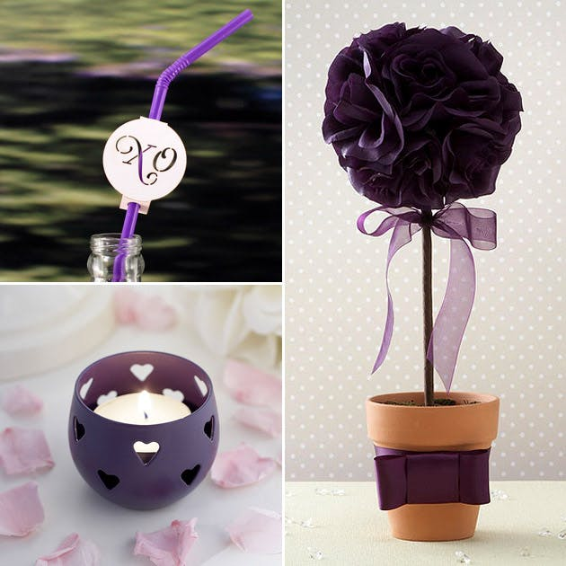 Purple Table Decor Straws Candle Holders Topiary Trees