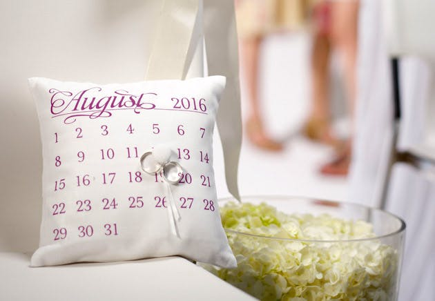 Personalised Ring Cushion With Wedding Date Design