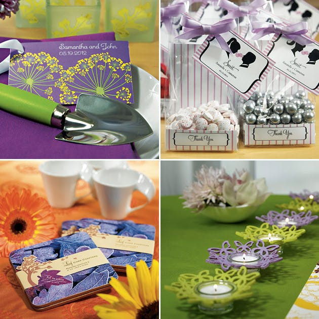 Purple Favours Coasters Candy Bags Candle Holders