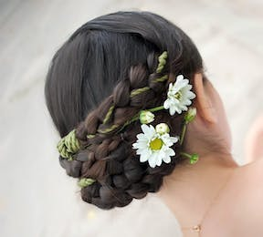 Bridal Braid Wedding Hair Style With Flowers