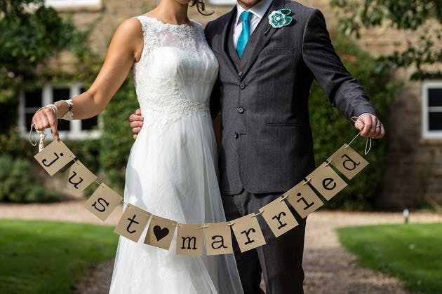 Bride and Groom Just Married Sign