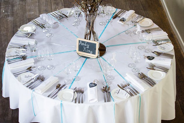 Round reception table at Claire and Conal's Real Wedding | Confetti.co.uk
