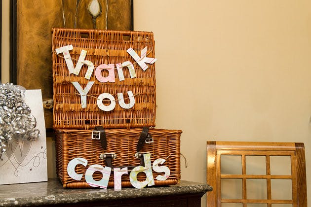 Wedding Thank You Cards Wicker Suitcase