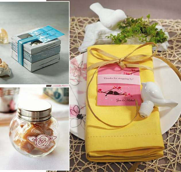 Bird Glass and Trinket Box Wedding Favours