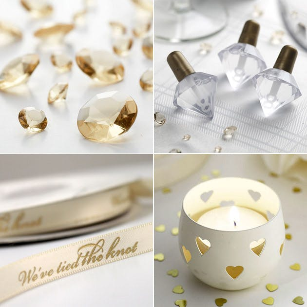 Gold Table Gems Wedding Bubbles Ivory Candle Holder Personalised Ribbon