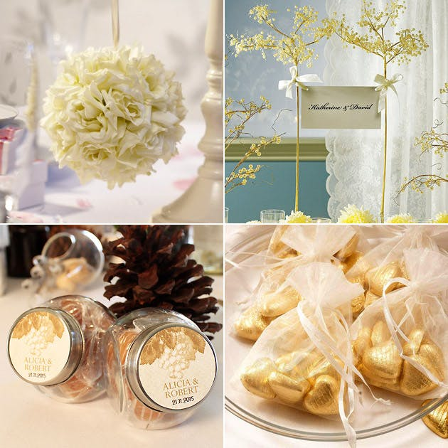 Ivory Pomander Ball Decorative Wire Tree Organza Favour Bags Glass Candy Jars