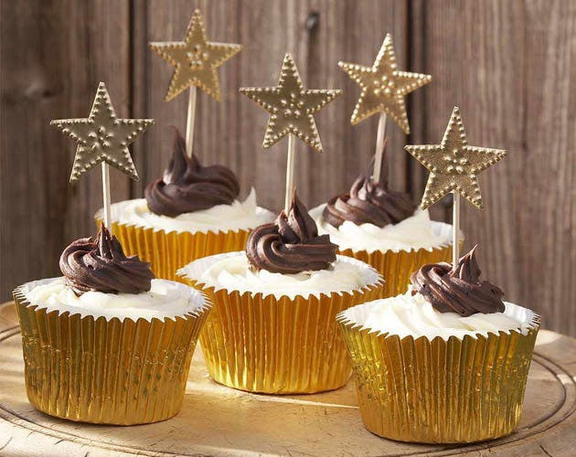 Gold Star Cake Decorations