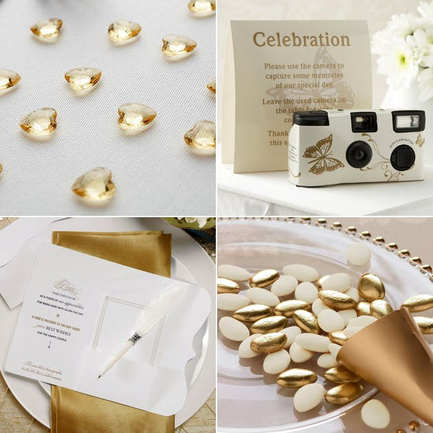 Gold Table Gems Butterfly Camera Sugared Almonds Feather Favour Pen