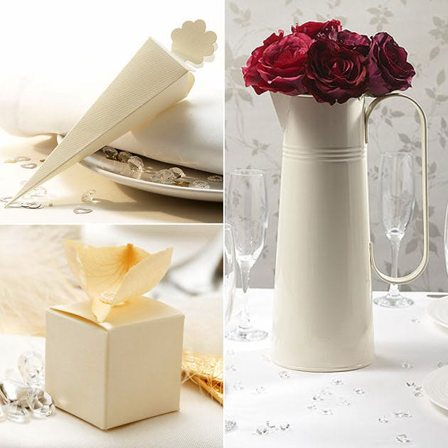 Ivory Confetti Cone Large Metal Jug Favour Box