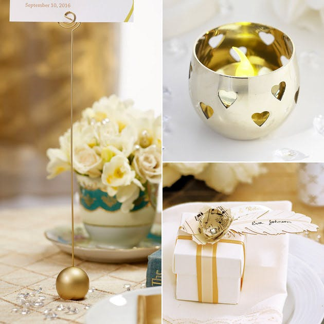 Gold Table Name Holder Candle Holder Wedding Favour Wrap
