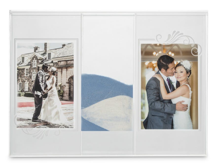 Wedding sand ceremony shadow box with photo frames | Confetti.co.uk