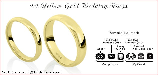 9 carat gold wedding rings