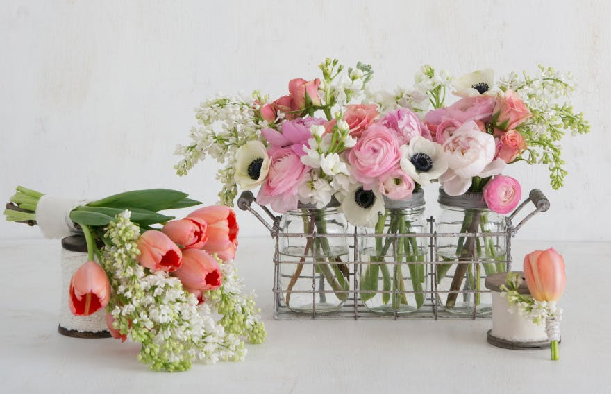 Pastel Pink and White Wedding Flowers - DIY Spring Florals - DIY Summer Flowers - DIY Pastel Pink Wedding Centrepiece - DIY Spring Boutonniere - DIY Summer Bouquet - Tulips, White Lilac, Peonies, Pink Ranunculus, Peach Spray Roses, White Stocks, and White Anemones | Confetti.co.uk