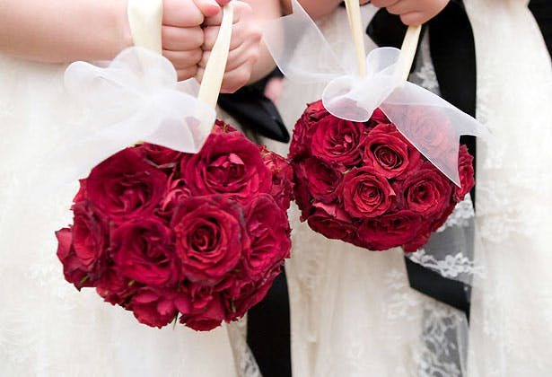 2 red rose pomander bouquets